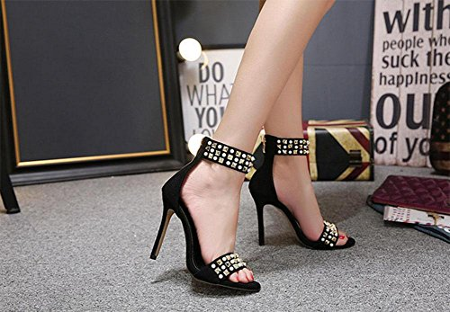 MEILI Sandalias con remaches de diamantes de imitación para mujer 2