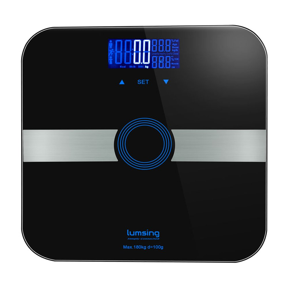 Lumsing Body Fat Weight Bathroom Scale Digital Body Monitor Analyzer Professional Smart Fitness Scale 400 lbs Measuring BMI/Body Fat/Water/Muscle/Bone Range, Black, CF375(Battery Include)