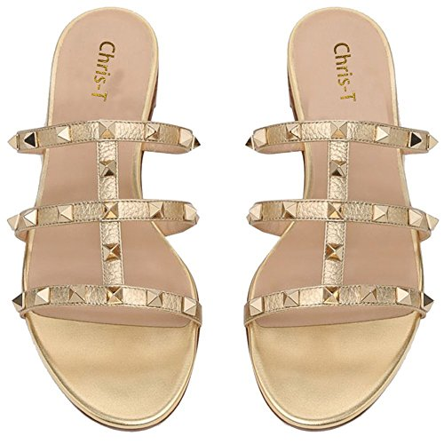 Backless Gladiator t Chris Strappy Slippers Rivets Flats Gold Rockstud 14 5 Mules Womens Sandals Dress Slides Studded Us PpdznwApq
