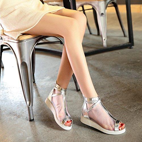 de y Malla ZHZNVX Zapatos Transpirables Verano Abierta Zapatos Sandalias de y Zapatos con Salvajes Planos la de Punta Coreana Versión Silver de Cómodos Primavera Tendencia UUHnrqP7