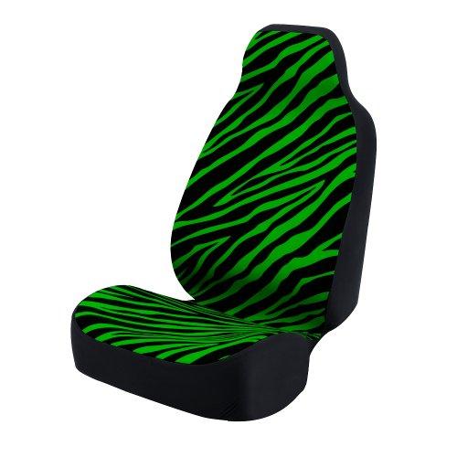 Green Zebra Animal Print - Coverking Universal Fit 50/50 Bucket Animal Fashion Print  Seat Cover - Zebra (Green and Black)