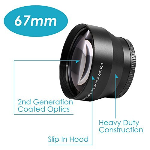 Neewer 67MM Professional High Definition 2.2X Telephoto Lens for Canon Nikon Pentax Olympus Sony Samsung and Other Digital SLR Camera Lenses with 67mm Filter Threads