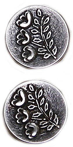 "Fancy & Decorative {22mm w/ 1 Back Hole} 2 Pack of Large Size Round ""Popper Shank"" Sewing & Craft Buttons Made of Genuine Metal w/ Antique Old Metallic Garden Floral Design {Silver & Black}"