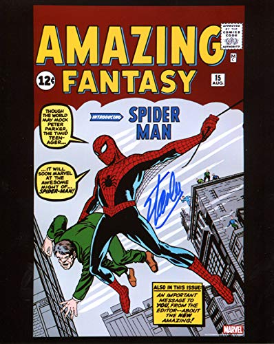 Autograph Original (Stan Lee Amazing Fantasy 15 First Spiderman Signed/Autographed 8x10 Glossy Photo. Includes Fanexpo Certificate of Authenticity and Proof of signing. Entertainment Autograph Original.)