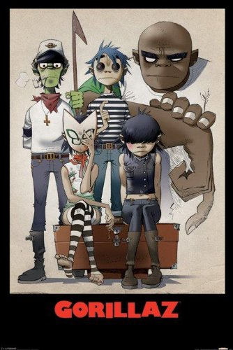 Gorillaz All Here English Virtual Electronic Rock Music Band Poster Print 24 by 36