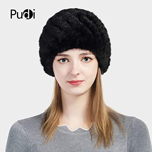 97bd8db2fc6b9 HF702 Women s Hats Knitted Real Mink Fur hat Cap 2017 Brand New Winter Warm Girls  Beanies Skullies Black Brown Color   Baby