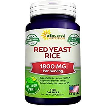 Red Yeast Rice 1800mg - Dietary Supplement Powder Pills to Support Cardiovascular Health - 180 Capsules