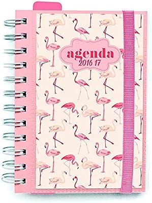 Agenda scolaire Flamingos Bande elastique un jour par page français 2016 / 2017