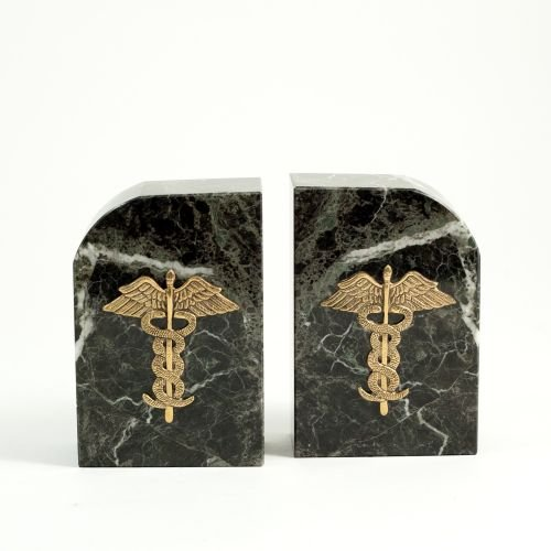 Marble Medical Caduceus Bookends - Doctors Gift Bookends