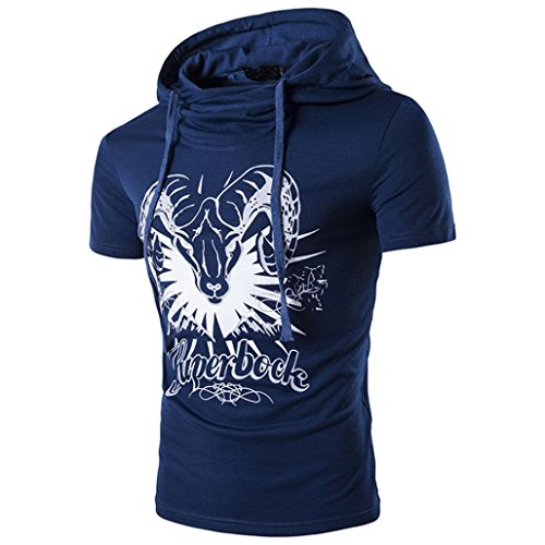 (Clearance Sale! Wintialy Fashion Personality Men's Hoodie Pure Color Print Sleeve T Shirt Top Blouse)