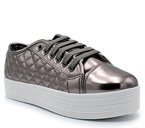 Breckelles - Womens Soft Quilted Fashion Sneaker Gunmetal IgupDv