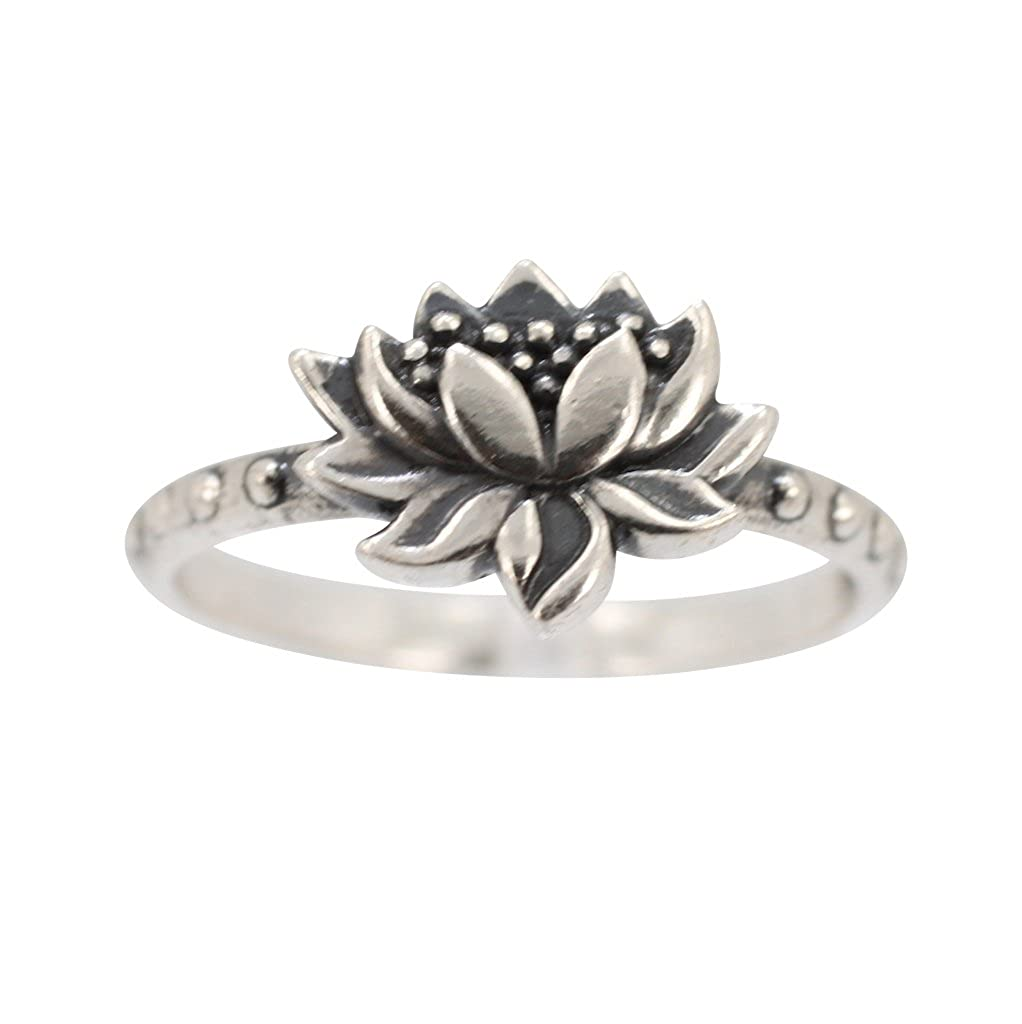 Amazoncom Detailed Lotus Blossom Flower Ring In Sterling Silver