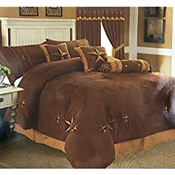 Western Peak Oversize Embroidery Texas Western Star Suede Comforter Bedding 7 Pieces Set (King, Brown)