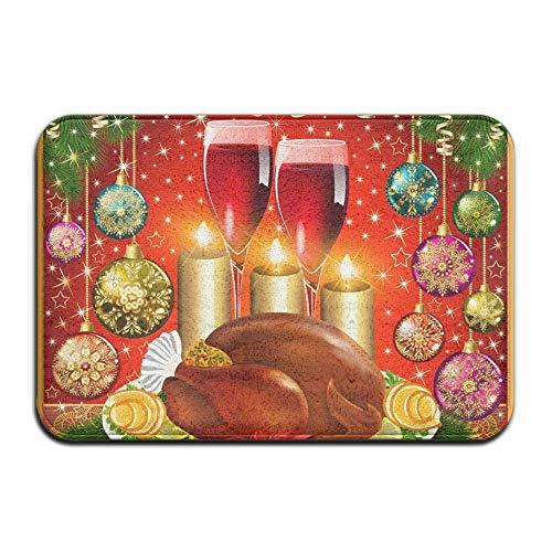 DUangdglumats Indoor Welcome Personalized Hello Doormat, Christmas Turkey Wine, Non Slip Backing Entry Way Doormat