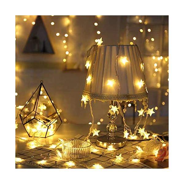 Luci Natalizie, DIKI Catene Luminose LED Star Luci di Natale Camera da letto 2 modalità 5M 40 LED Decorazioni natalizie Holiday Fairy Home, Indoor e Outdoor 2 spesavip