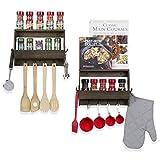 WALLNITURE Kitchen Organizer Wall Décor Spice Rack with 8 Hooks Wood Walnut 12 Inch Set of 2