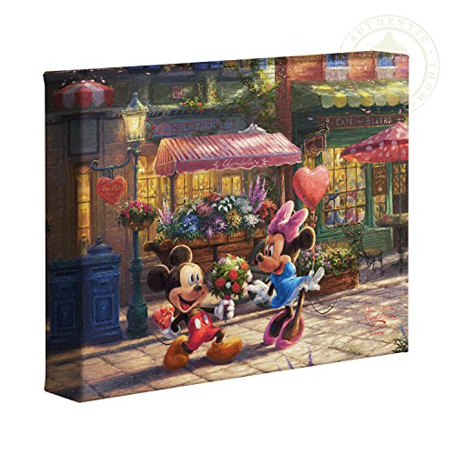 Disney Mickey Mouse Canvas - Thomas Kinkade Studios Mickey and Minnie Sweetheart Cafe 8 x 10 Gallery Wrapped Canvas
