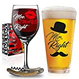 Funny Wedding Gifts For Wedding, Engagement, Bridal Shower, Anniversary, Birthday, Newlyweds, and Couples - Him, Her, with FREE Bottle Opener - Unique Gift Box Included (Mr & Mrs)