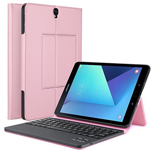 IVSO Samsung Galaxy Tab S3 9.7 Case With Keyboard Ultra-Thin DETACHABLE Bluetooth Keyboard Portfolio Stand Case/Cover for Samsung Galaxy Tab S3 9.7-Inch Tablet w/ S Pen SM-T820/SM-825 (Rose Gold) - Galaxy Tab 3 Accessory Keyboard