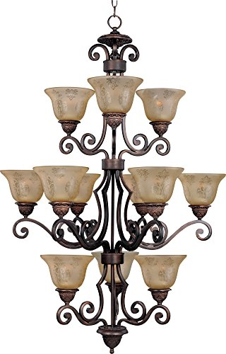 Maxim 11238SAOI Symphony 12-Light Chandelier, Oil Rubbed Bronze Finish, Screen Amber Glass, MB Incandescent Incandescent Bulb , 60W Max., Damp Safety Rating, Standard Dimmable, Opal Glass Shade Material, Rated Lumens