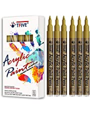 Gold Marker Paint Pens - 6 Pack Acrylic Gold Permanent Marker, 0.7mm Extra Fine Tip Paint Pen for Art projects, Drawing, Rock Painting, Stone, Ceramic, Glass, Wood, Plastic, Metal, Canvas DIY Crafts