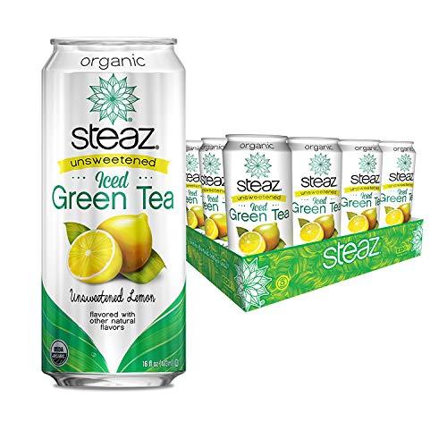 Steaz Organic Unsweetened Iced Green Tea,16 OZ (Unsweetened Lemon)