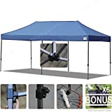 AbcCanopy 10x20 Straight Leg Pop-up Canopy Commercial Grade Instant Canopy Black Roller Bag Bonus 6x Weight Bag (navy blue)