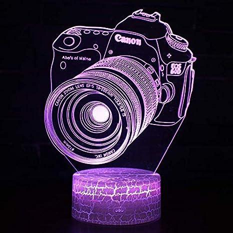 3D LED Luz de Noche Ilusión óptica Lámpara Cámara de ...