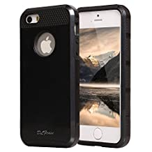 iphone 5s Case, iphone 5 Case, TPU + Pc Dual Layer Hybrid Fashion Shockproof Soft Hard Defender Case Cover for Apple iphone 5/5s (Black)