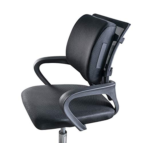 Dreamer Car Comfortable and Soft Memory Foam Back Support for Office Chairs/Backrest with 2 Strong Adjustable Straps/Non-Slip Rubber / 3D Mesh Cushion Cover, Black