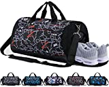 CoCoMall Sports Gym Bag with Shoes Compartment and Wet Pocket, Travel Duffle Bag for Men and Women (Graffiti-Red)