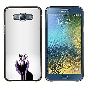 KLONGSHOP // Cubierta de piel con cierre a presión Shell trasero duro de goma Protección Caso - El mal reina del dragón - Samsung Galaxy E7 E700 //
