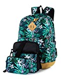 Leaper Floral Laptop Backpack School Travel Bags Shoulder Bag Purse Green 3PCS