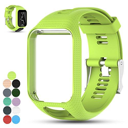 (Feskio Accessory Replacement Soft Silicone Gel Watch Band Wristband Strap Sport Bracelet for Tomtom Runner 2 / Runner 3 / Spark 3 / Adventurer/Golfer 2 Sports GPS Running Smartwatch (One Size))