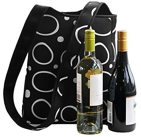 2 Bottle Wine Water Carrier Tote for Women. Premium Neoprene Protects & Insulates Bottles. Great X-Large Lunch Bag, Keeps Food Drinks Colder Longer. Cute Purse Handbag With Crossbody Shoulder - Neoprene 2 Bottle Wine Tote