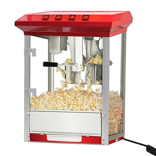 Popcorn Popper Maker Machine 8oz Durable Deluxe Red Tabletop Theater Stainless Steel Kettle TC-00801A (Hello Kitty Popcorn Machine compare prices)