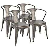 Cheap Furmax Metal Chairs with Arms Distressed Style Gun Indoor/Outdoor Use Stackable Chic Dining Bistro Cafe Side Chairs(Set of 4)