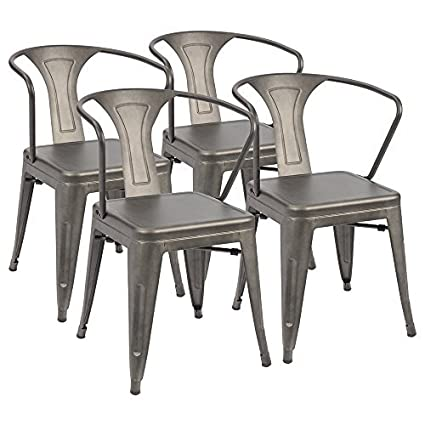 Furmax Metal Chairs With Arms Distressed Style Gun Indoor/Outdoor Use  Stackable Chic Dining Bistro