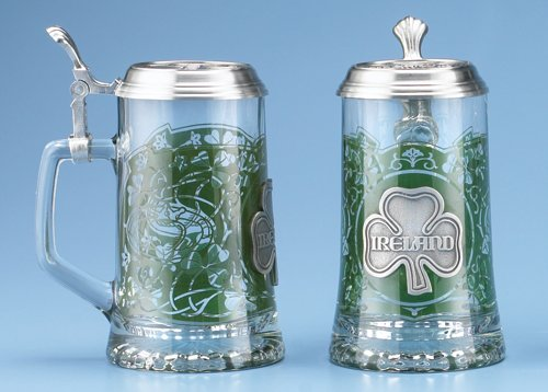 Ireland Glass Beer Stein With Pewter Lid and Pewter Shamrock