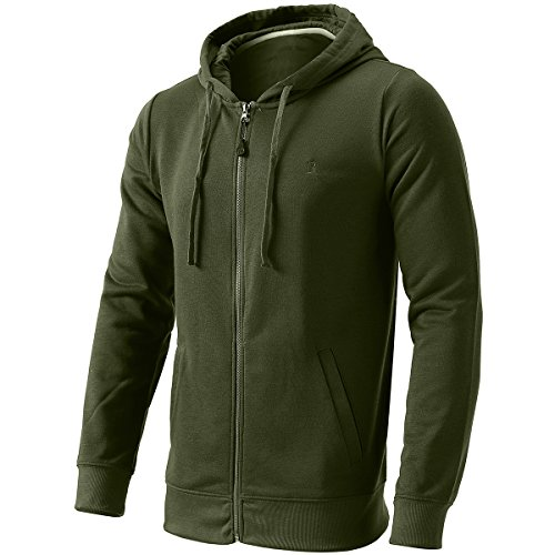 Hooded Jacket for Men Long Sleeve Hoodies for Outdoors Sports Army Green L