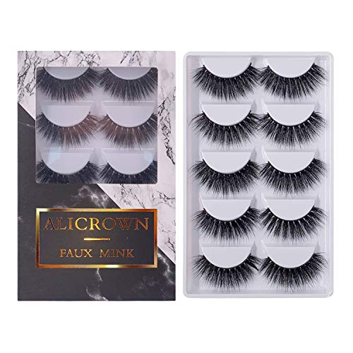 995a85ef73d MIAMI Eyelashes 5 Pairs Pack 3D Fake Eyelashes Mink Fur Hand-Made Dramatic  Thick Crisscross