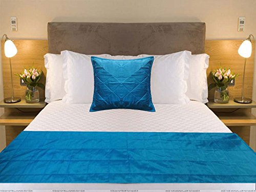CPEX Long Polyester Silk Blue (Crayola) Bed Runner Handmade Bed Scarf 102'' Wide X 20'' Long For King by CPEX