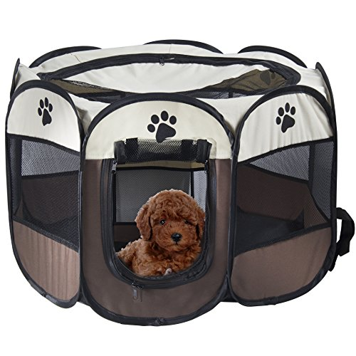 MiLuck Pet Portable Foldable Playpen, Exercise 8-Panel Kennel Mesh Shade Cover Indoor outdoor Tent Fence For Dogs Cats L Brown