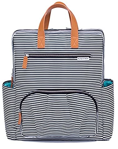 Diaper Bag Backpack by Kute 'n' Koo – Fashion and Function in One Bag – Designed by Top Designer in NYC – 12 Handy Pockets – Matching Changing Pad - and Much More (Black and White French Stripe)