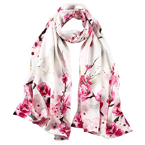 STORY OF SHANGHAI Womens 100% Mulberry Silk Head Scarf For Hair Ladies Floral Satin Scarf Gift for Valentine's Day,Rose Red,One Size ()