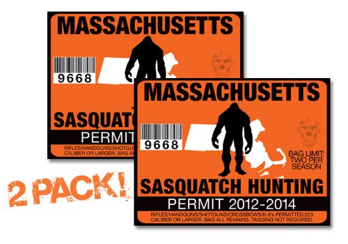 Massachusetts-SASQUATCH HUNTING PERMIT LICENSE TAG DECAL TRUCK POLARIS RZR JEEP WRANGLER STICKER 2-PACK!-MA