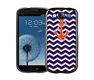 New Samsung Galaxy S3 Case Durable Soft Silicone TPU Chevron Pattern Blue With Anchor Coolest Design Black Cell Phone Case Cover Accessories