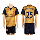 2015/16 Gunners #25 Adebayor Away Kids Youth Soccer Jersey Kit Set