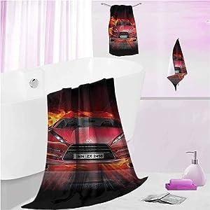 DayDayFun Patterned Bath Towel Sets Cars Durable High Absorbency 3-Piece Set Fire Car Speeding Flames S - Contain 1 Bath Towel 1 Hand Towel 1 Washcloth