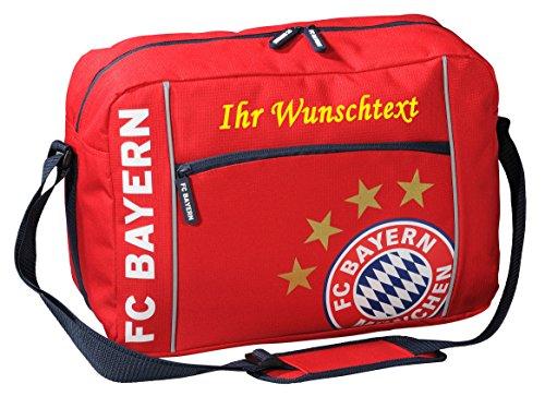 FC Bayern Schultertasche mit Ihrem Wunschtext in Ihrer Wunschfarbe (Gelb)